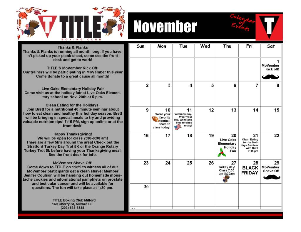 Calendar of Events – - TITLE Boxing Club Milford | Fitness | Boxing ...